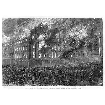 NEWCASTLE ON TYNE Great Fire at the Exchange Buildings - Antique Print 1867