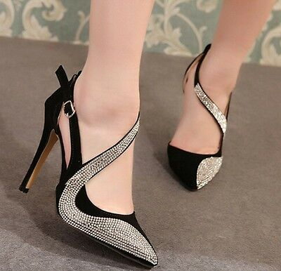 Women Party High Heels Stiletto Pointed-Toe Ankle Strap Shoes multicolor Sandals