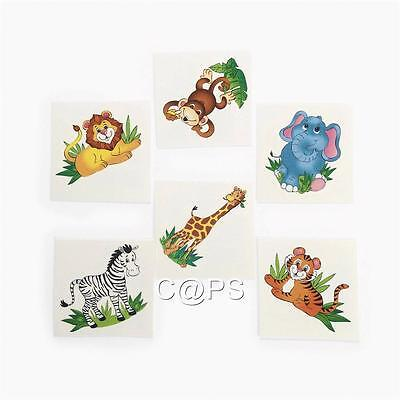 Zoo Animal Tattoos   Safari  Favours  36 PACK   Jungle Party Loot Bag Supplies