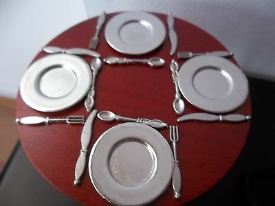Dolls House Miniatures 1/12th scale Sliver Metal Dinner Set D008 New