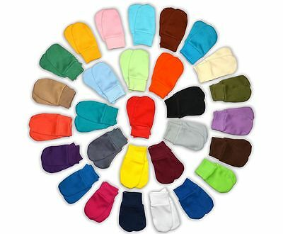 29 COLOURS brand new BABY SCRATCH MITTENS, MITTS 100% cotton No Pattern