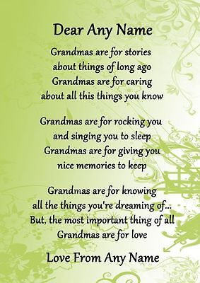 Green Grandmas Are For Love Personalised Poem Certificate