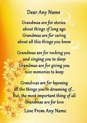 Yellow Floral Grandmas Are For Love Personalised Poem Certificate