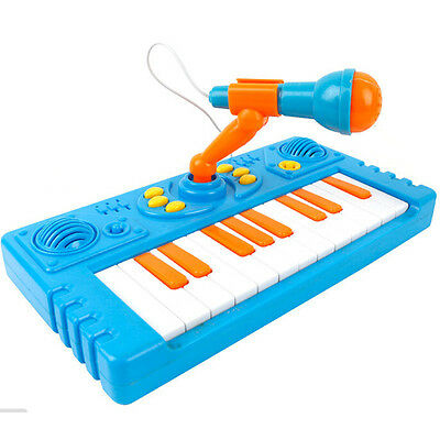 BLUE Children's educational toy keyboard music toy Piano Organ with microphone
