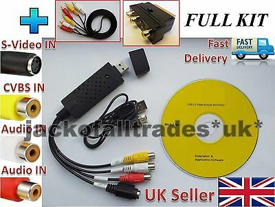 FULL KIT USB VHS Tapes to Win PC/DVD Video/Audio Converter Capture Card/Adapter