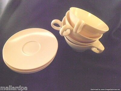 BoontonWare 3206-8 3202-6 White Mug Cup & Saucer Lot of 4 - Made In USA