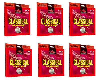 6 Sets A108 Normal Tension Clear Nylon Silver Plated Classical Guitar Strings