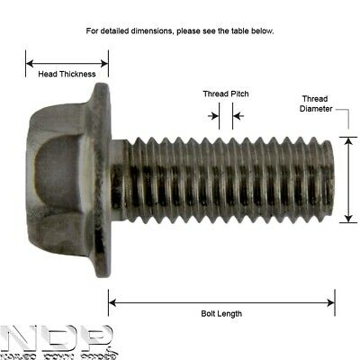 A2 Stainless Steel Hexagon/Hex Head Flange Metric Bolts/Screws - *ALL SIZES*