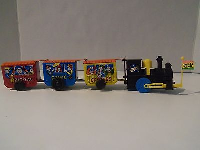 Vintage Tin Wind-Up Western Comic Express Zigzag Toy Train