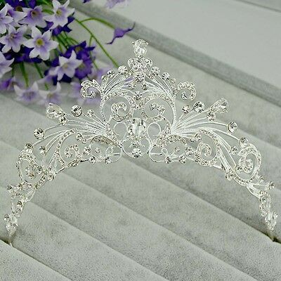 Bridal Rhinestone crystal silver tone crown hair forehead band Headpiece HR347