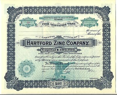 Hartford Zinc Company Stock Certificate Connecticut