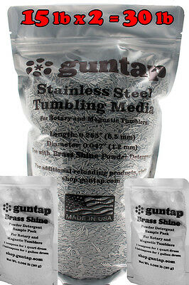 "30 Pounds Stainless Steel Tumbling Media Pins 30lb .047"" x .255"" Made in USA"