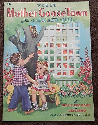 Visit Mother Goose Town With Jack and Jill Vintage Children's Book c. 1942 AA
