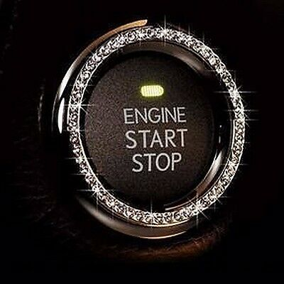 Silver Rhinestone Car Bling Ring Emblem Sticker, Bling Start Ignition Button/Key