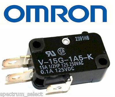 Lot of 2 NEW, OMRON MICRO SWITCH PIN PLUNGER, SPDT 15A 250V, Model#:V-15G-1A5-K