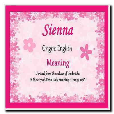 Sienna Personalised Name Meaning Square Plaque