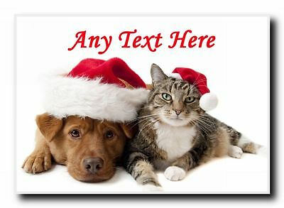 Cat And Dog Christmas Personalised Jumbo Magnet