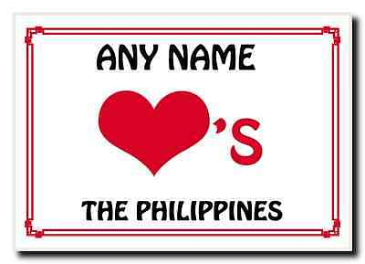 Love Heart The Philippines Personalised Jumbo Magnet