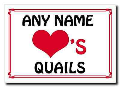 Love Heart Quails Personalised Jumbo Magnet