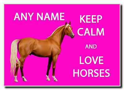 Keep Calm And Love Horses Pink Personalised Jumbo Magnet
