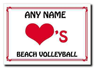Love Heart Beach Volleyball Personalised Jumbo Magnet