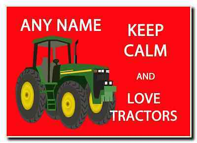 Keep Calm And Love Tractors Personalised Jumbo Magnet