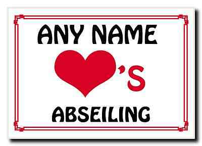Love Heart Abseiling Personalised Jumbo Magnet