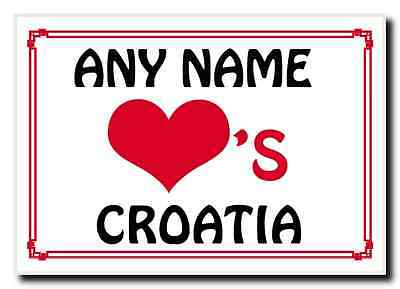 Love Heart Croatia Personalised Jumbo Magnet