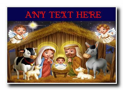 Nativity Scene Christmas Personalised Jumbo Magnet