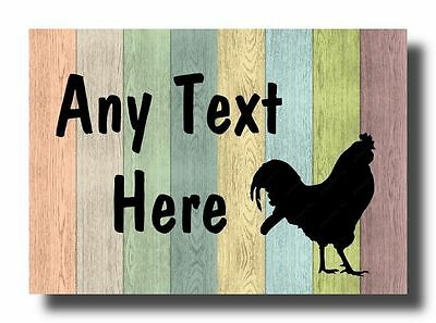 Rooster Chicken Hen Pastel Wood Personalised Jumbo Fridge Magnet