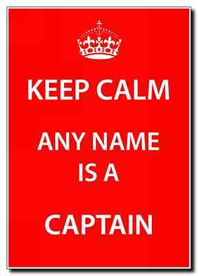 Captain Personalised Keep Calm Large Plaque
