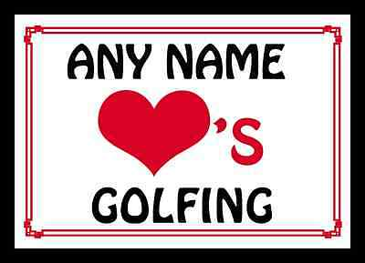 Love Heart Golfing Personalised Placemat