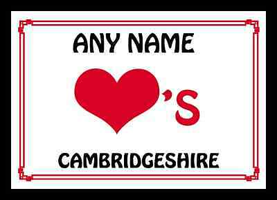 Love Heart Cambridgeshire Personalised Placemat