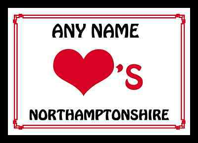 Love Heart Northamptonshire Personalised Placemat