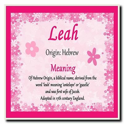 Leah Personalised Name Meaning Coaster