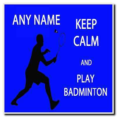 Keep Calm And Play Badminton Personalised Drinks Mat Coaster