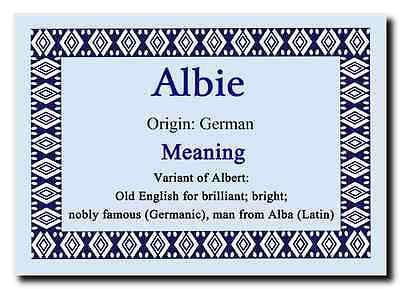 Albie Personalised Name Meaning Jumbo Magnet