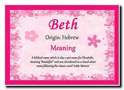 Beth Personalised Name Meaning Jumbo Magnet
