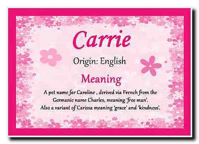 Carrie Personalised Name Meaning Jumbo Magnet