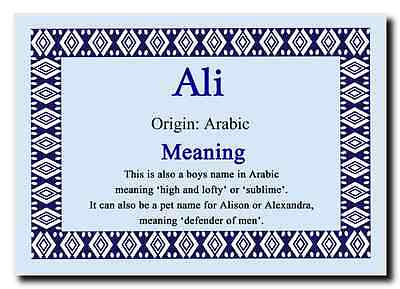 Ali Personalised Name Meaning Jumbo Magnet