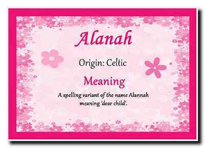 Alanah Personalised Name Meaning Jumbo Magnet