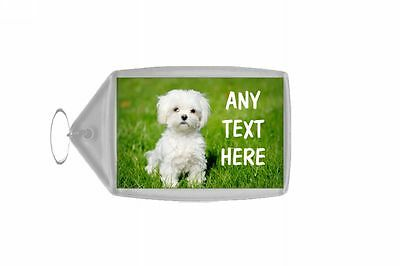 Maltese Terrier Personalised Keyring