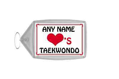 Love Heart Taekwondo Personalised Keyring