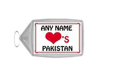 Love Heart Pakistan Personalised Keyring