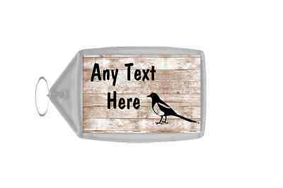 Magpie Bird Shabby Wooden Effect Personalised Keyring