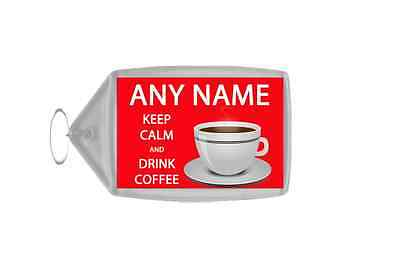 Keep Calm And Drink Coffee Red Personalised Large Keyring