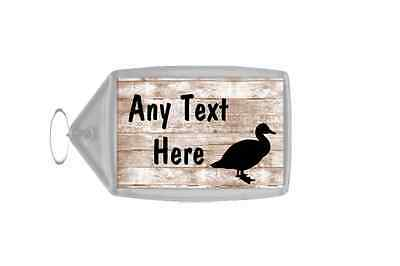 Duck Shabby Wooden Effect Personalised Keyring