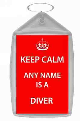 Diver Personalised Keep Calm Keyring