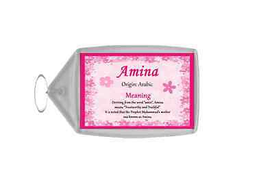 Amina Personalised Name Meaning Keyring