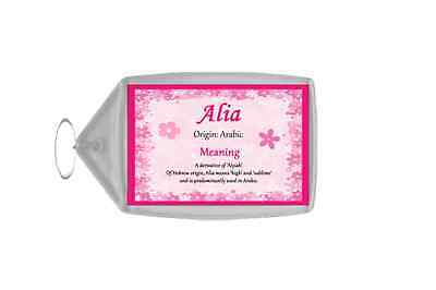 Alia Personalised Name Meaning Keyring
